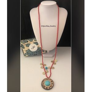 Plunder Cole Necklace Red, leopard & turquoise